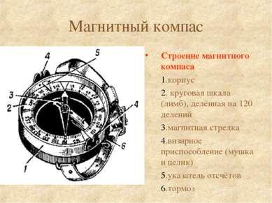 Магнитный компас Строение магнитного компаса 1.корпус 2. круговая шкала (лимб...