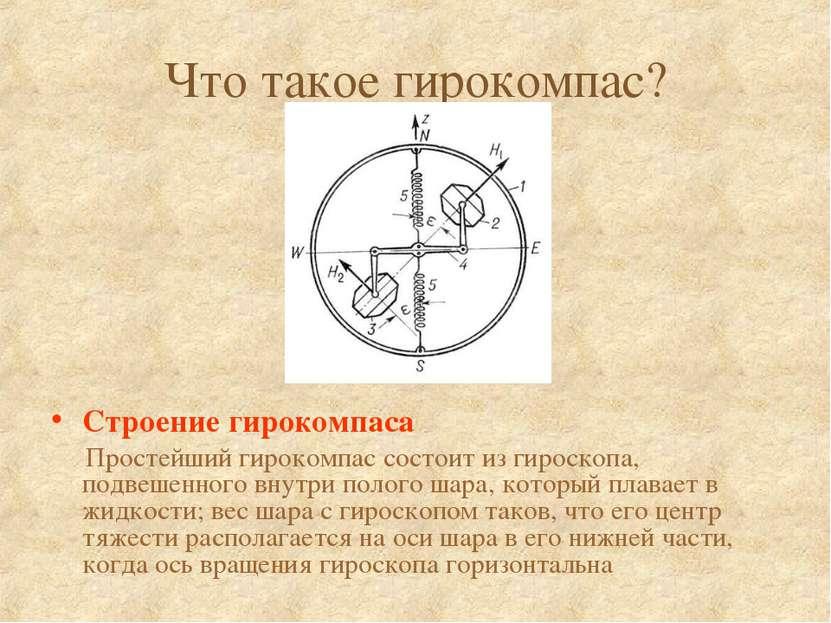 Что такое гирокомпас? Строение гирокомпаса Простейший гирокомпас состоит из г...
