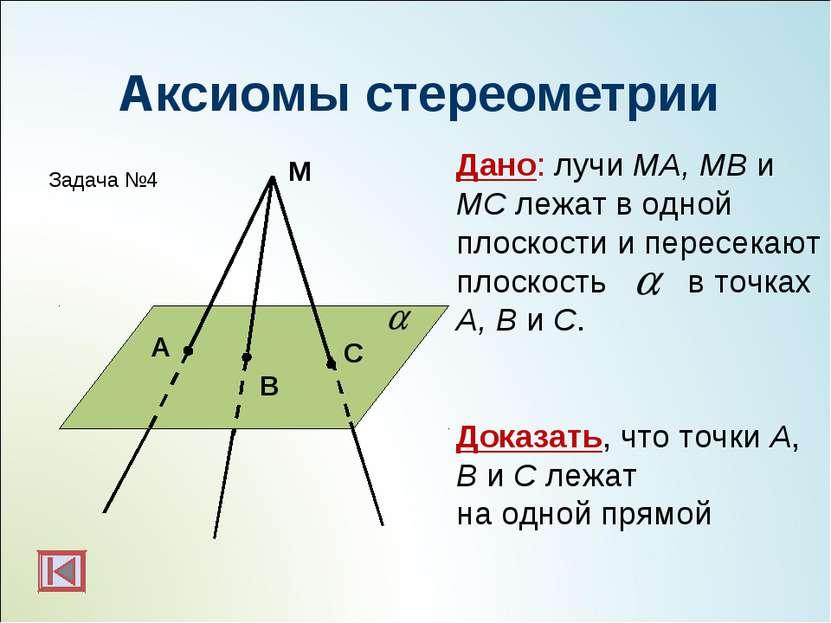 M C A B Дано: лучи MA, MB и MC лежат в одной плоскости и пересекают плоскость...
