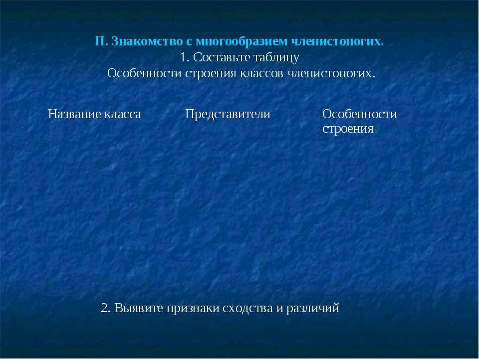 II. Знакомство с многообразием членистоногих. 1. Составьте таблицу Особенност...