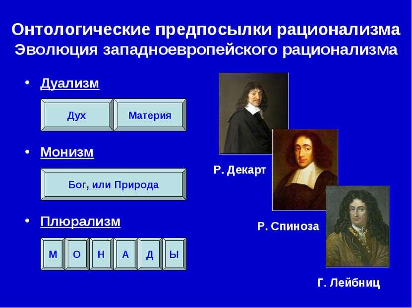 Р. Декарт Р. Спиноза Г. Лейбниц Онтологические предпосылки рационализма Эволю...