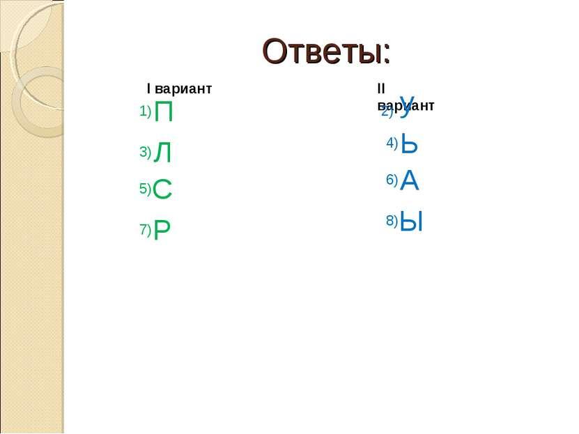 Ответы: I вариант II вариант 1) П 2) у 3) Л 4) Ь 5) С 6) А 7) Р 8) Ы