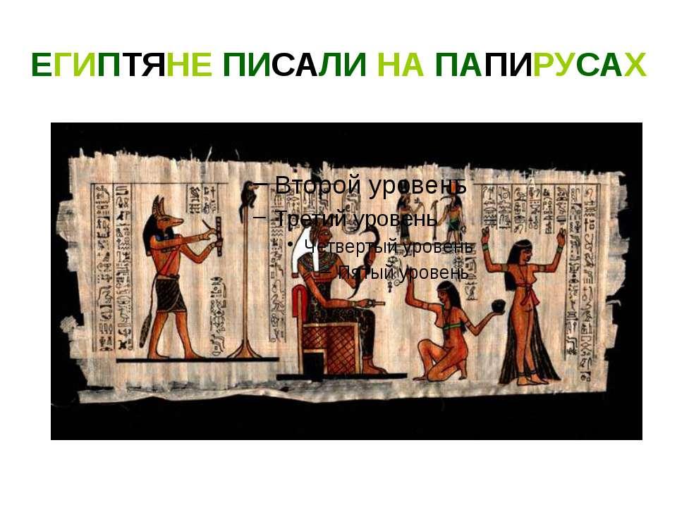 ЕГИПТЯНЕ ПИСАЛИ НА ПАПИРУСАХ Египтяне писали на папирусах. Папирус это особый...