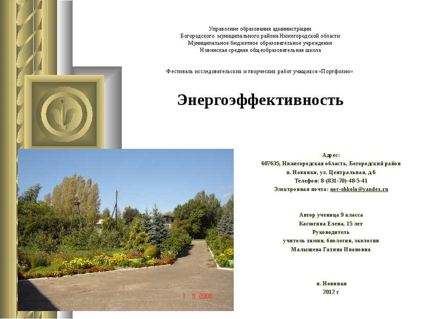 Управление образования администрации Богородского муниципального района Нижег...