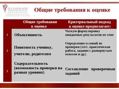 Общие требования к оценке  Общие требования к оценке  Критериальный подход...