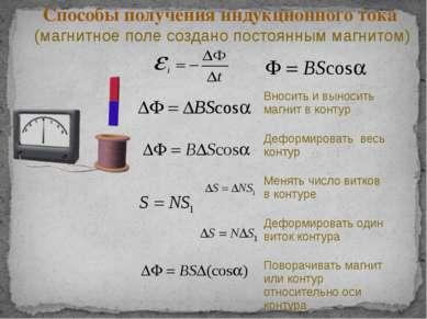Способы получения индукционного тока (магнитное поле создано постоянным магни...