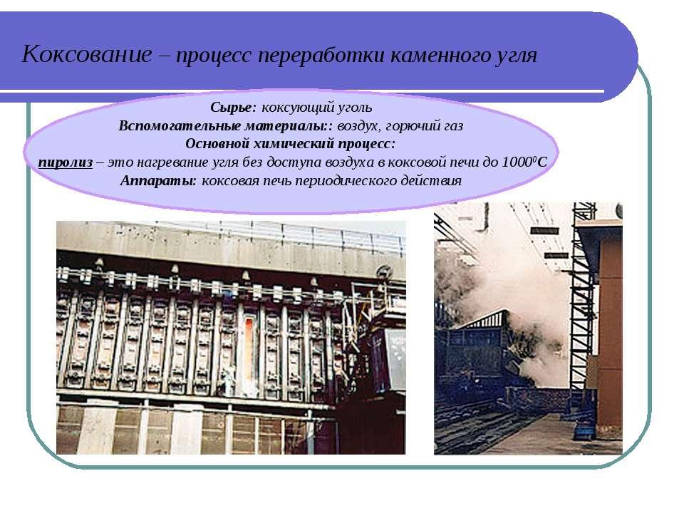 Коксование – процесс переработки каменного угля Сырье: коксующий уголь Вспомо...