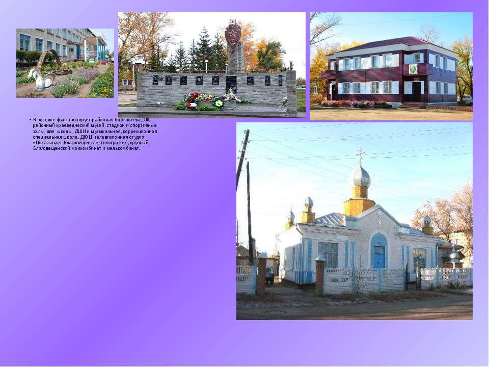 В поселке функционирует районная библиотека, ДК, районный краеведческий музей...