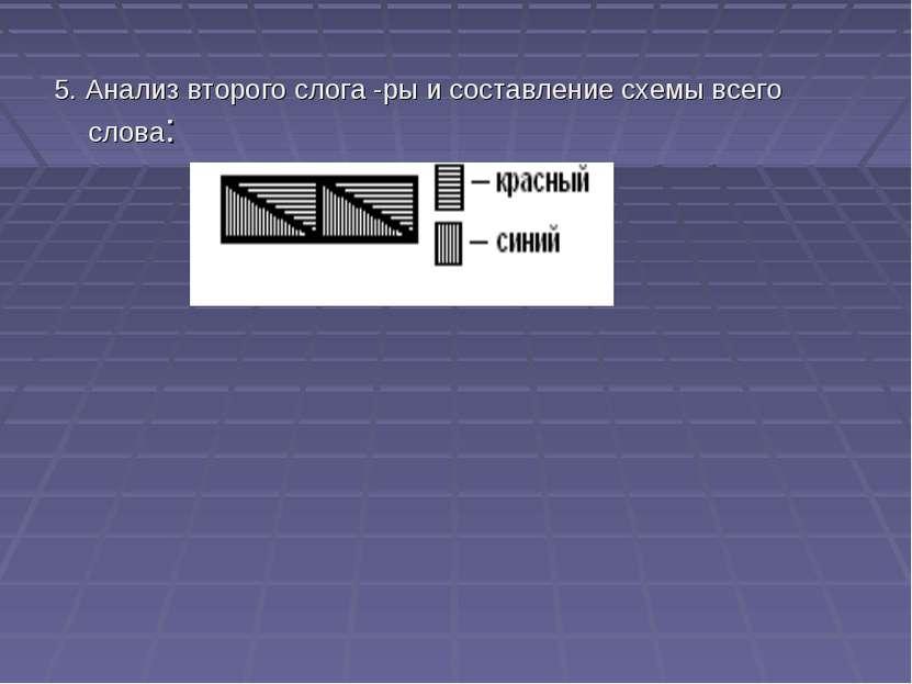 5. Анализ второго слога -ры и составление схемы всего слова: