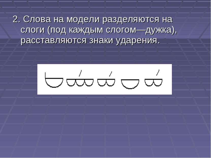 2. Слова на модели разделяются на слоги (под каждым слогом—дужка), расставляю...