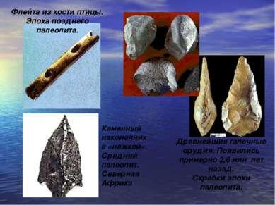 . Древнейшие галечные орудия. Появились примерно 2,6 млн лет назад. Скребки э...