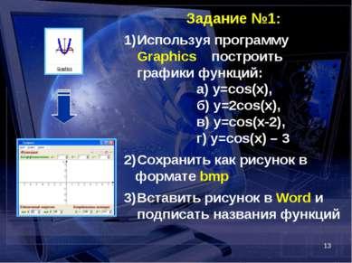 * Задание №1: Используя программу Graphics построить графики функций: а) y=co...