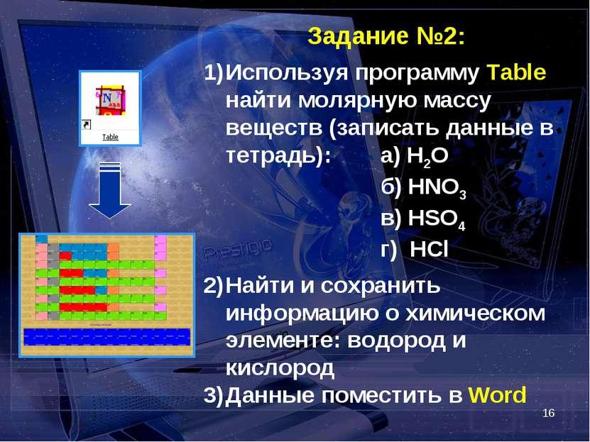 * Задание №2: Используя программу Table найти молярную массу веществ (записат...