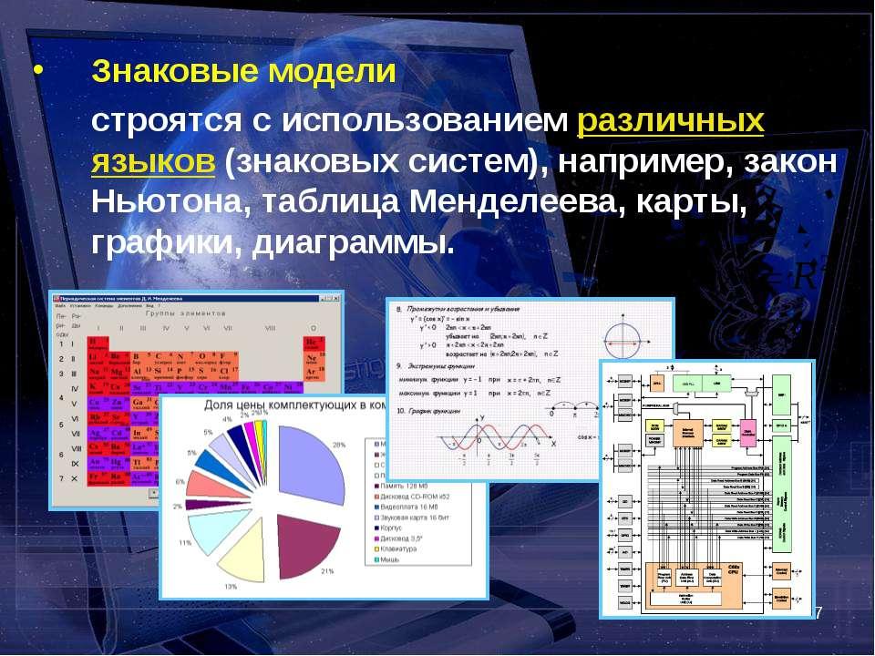 * Знаковые модели строятся с использованием различных языков (знаковых систем...
