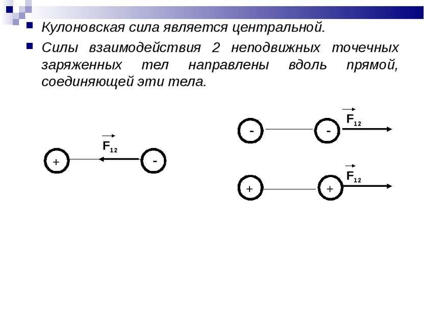 Кулоновская сила является центральной. Силы взаимодействия 2 неподвижных точе...