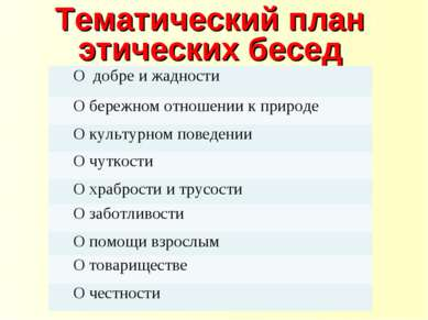 Тематический план этических бесед О добре и жадности О бережном отношении к п...