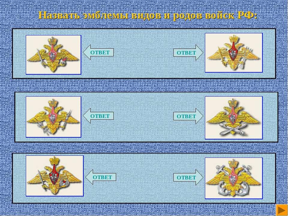 Назвать эмблемы видов и родов войск РФ: ОТВЕТ ОТВЕТ ОТВЕТ ОТВЕТ ОТВЕТ ОТВЕТ