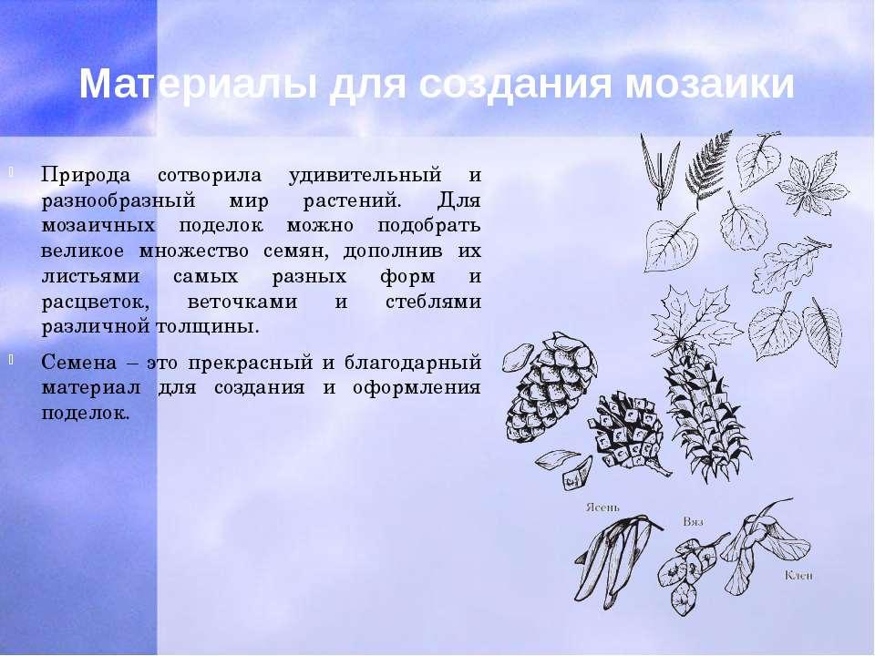 Материалы для создания мозаики Природа сотворила удивительный и разнообразный...