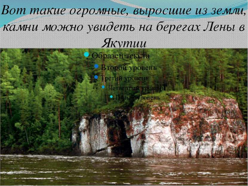Вот такие огромные, выросшие из земли, камни можно увидеть на берегах Лены в ...