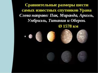 Сравнительные размеры шести самых известных спутников Урана Слева направо: Па...