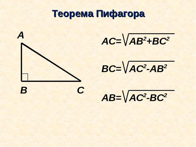 Теорема Пифагора АС= ВС= АВ=