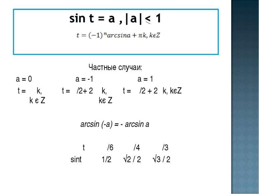 Частные случаи: а = 0 а = -1 а = 1 t = π k, t = π/2+ 2 π k, t = π/2 + 2πk, kє...