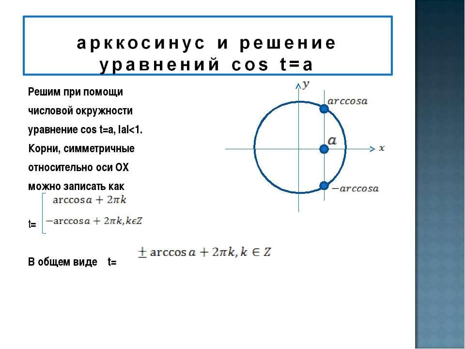Решим при помощи числовой окружности уравнение cos t=a, IаI