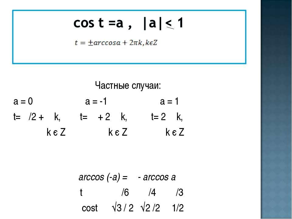 Частные случаи: а = 0 а = -1 а = 1 t= π/2 + π k, t= π + 2 π k, t= 2 π k, k є ...