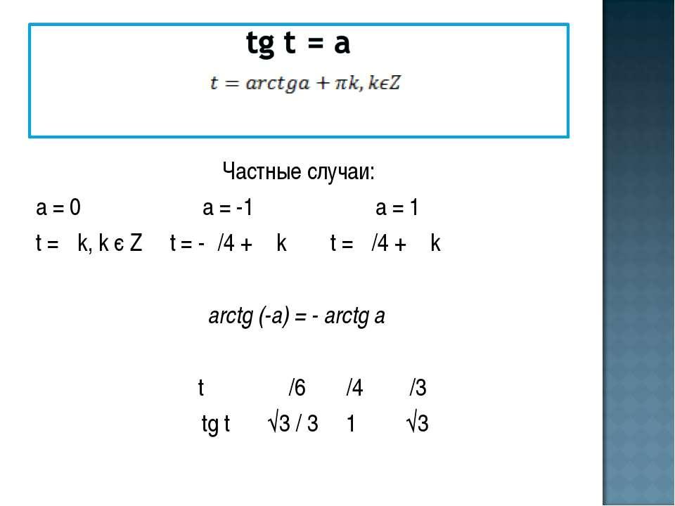Частные случаи: а = 0 а = -1 а = 1 t = πk, k є Z t = -π/4 + π k t = π/4 + π k...
