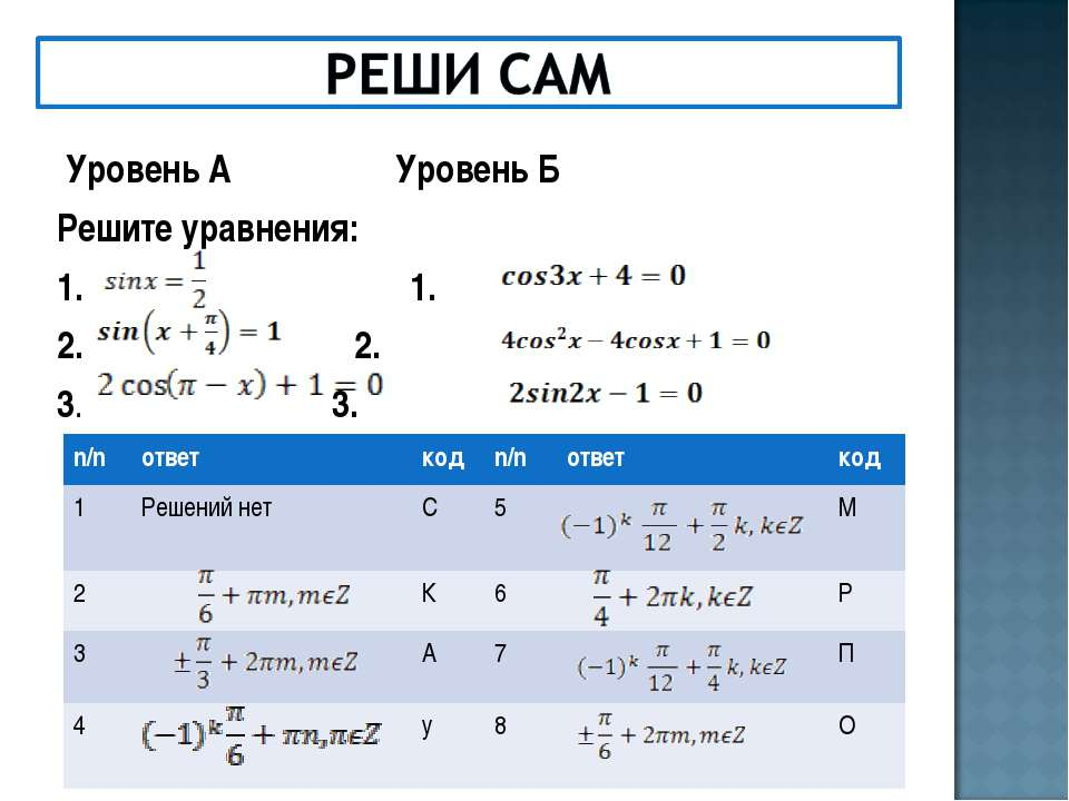 Уровень А Уровень Б Решите уравнения: 1. 1. 2. 2. 3. 3. n/n ответ код n/n отв...