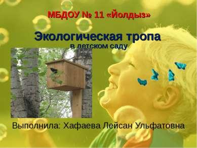 МБДОУ № 11 «Йолдыз» Экологическая тропа в детском саду Выполнила: Хафаева Лей...