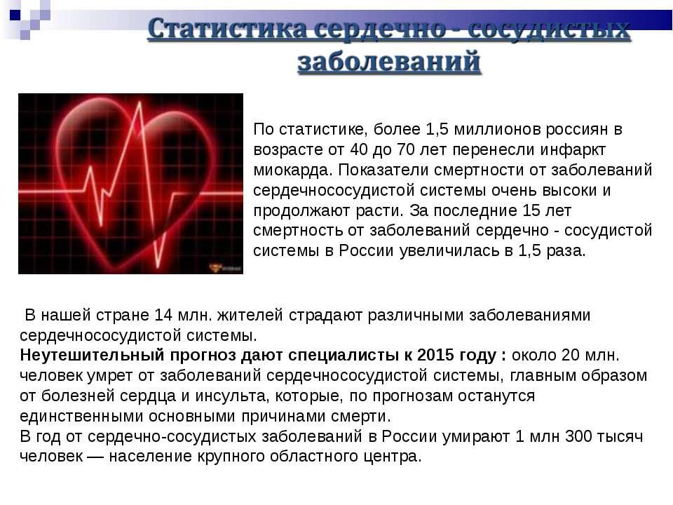 По статистике, более 1,5 миллионов россиян в возрасте от 40 до 70 лет перенес...
