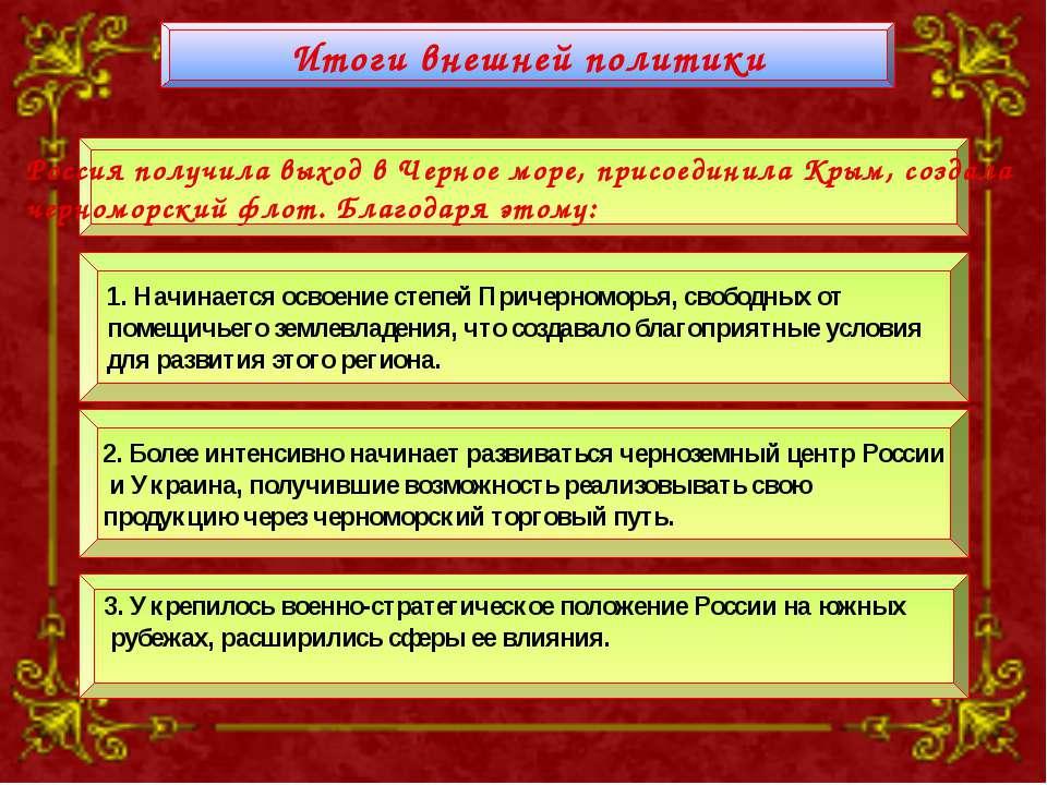 Итоги внешней политики Россия получила выход в Черное море, присоединила Крым...