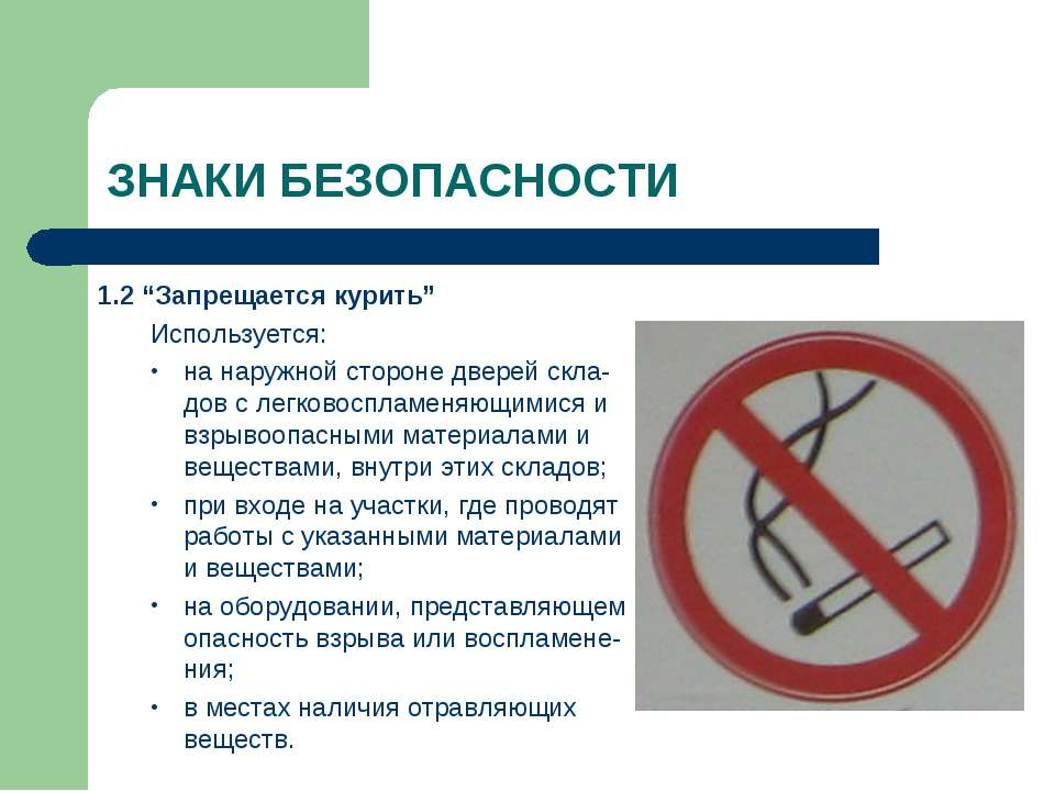 """ЗНАКИ БЕЗОПАСНОСТИ 1.2 """"Запрещается курить"""" Используется: на наружной стороне..."""