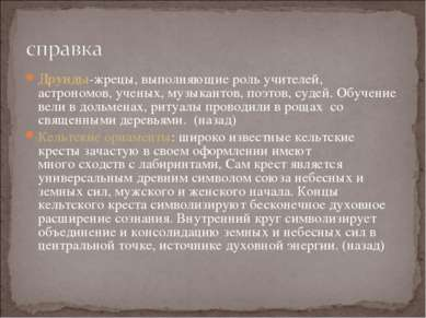 Друиды-жрецы, выполняющие роль учителей, астрономов, ученых, музыкантов, поэт...
