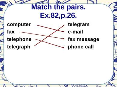 Match the pairs. Ex.82,p.26. computer fax telephone telegraph telegram e-mail...