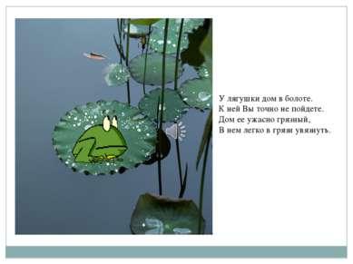 У лягушки дом в болоте. К ней Вы точно не пойдете. Дом ее ужасно грязный, В н...