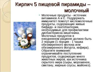 Кирпич 5 пищевой пирамиды – молочный  Молочные продукты - источник витаминов...