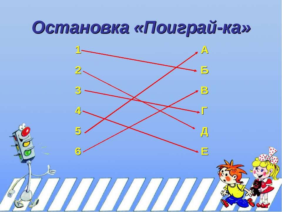 Остановка «Поиграй-ка» 1 А 2 Б 3 В 4 Г 5 Д 6 Е