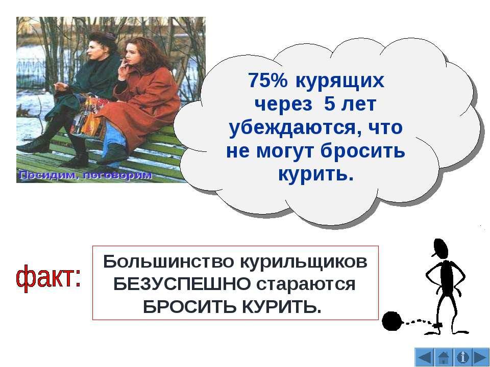 75% курящих через 5 лет убеждаются, что не могут бросить курить. Большинство ...