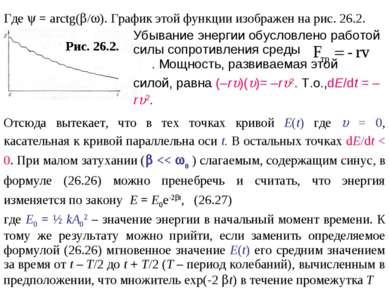 Где = arctg( / ). График этой функции изображен на рис. 26.2. Рис. 26.2. Убыв...