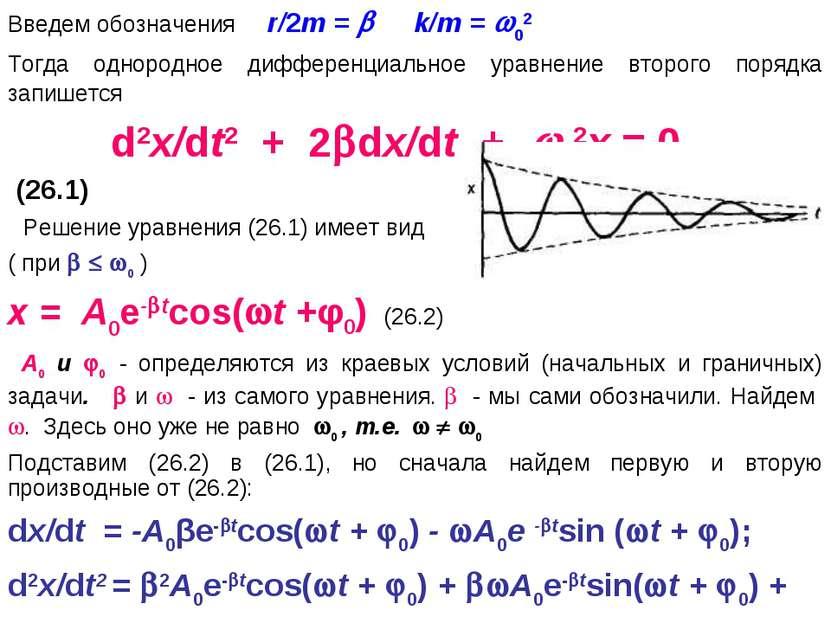 Введем обозначения r/2m = k/m = 02 Тогда однородное дифференциальное уравнени...
