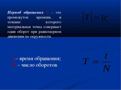 Период обращения T – это промежуток времени, в течение которого материальная ...