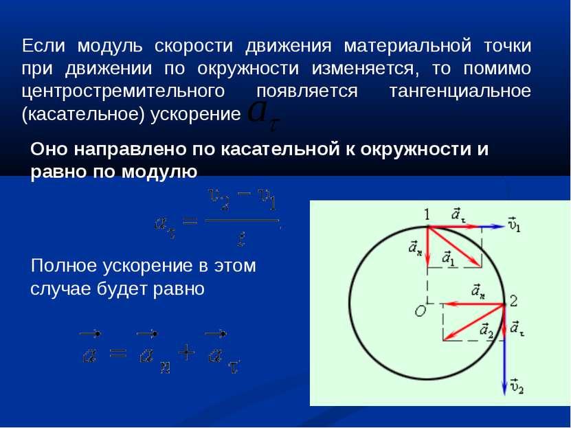 Если модуль скорости движения материальной точки при движении по окружности и...