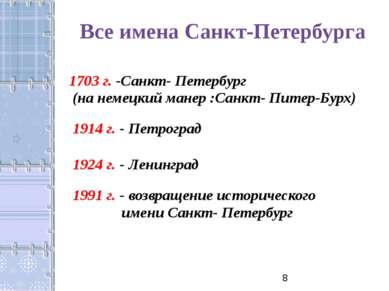 Все имена Санкт-Петербурга 1703 г. -Санкт- Петербург (на немецкий манер :Санк...