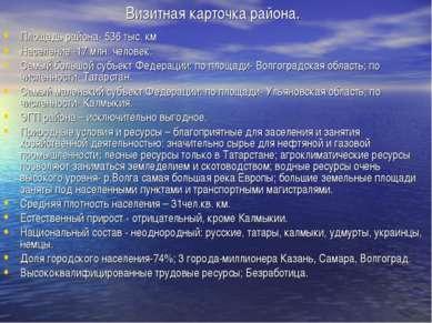 Визитная карточка района. Площадь района- 536 тыс. км Население -17 млн. чело...