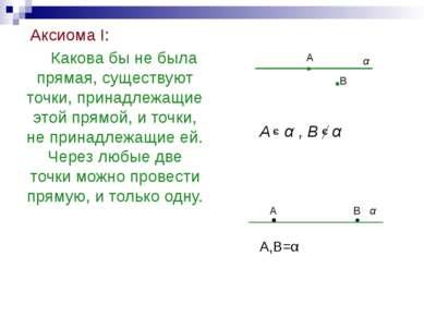 Аксиома I: Какова бы не была прямая, существуют точки, принадлежащие этой пря...