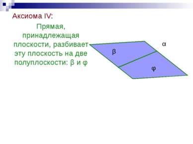 Аксиома IV: Прямая, принадлежащая плоскости, разбивает эту плоскость на две п...