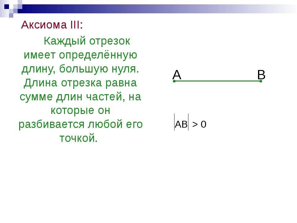 Аксиома III: Каждый отрезок имеет определённую длину, большую нуля. Длина отр...