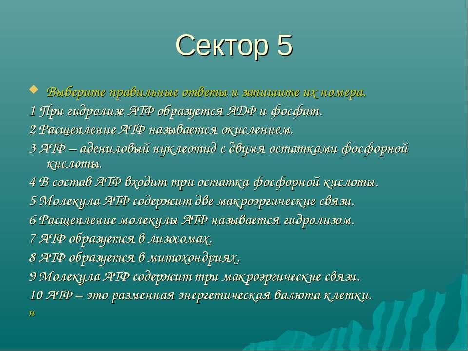 Сектор 5 Выберите правильные ответы и запишите их номера. 1 При гидролизе АТФ...